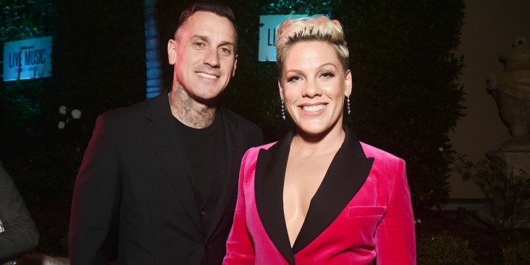 Carey Hart and Pink attend Billboard's 2019 LIve Music Summit and Awards Ceremony at the Montage Hotel on November 05, 2019 in Beverly Hills, California.
