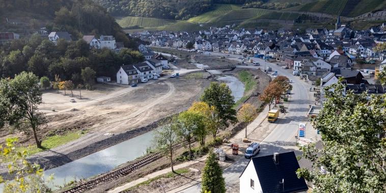 Devastation is still visible in the village of Dernau, Germany, three months after flash floods hit the region.