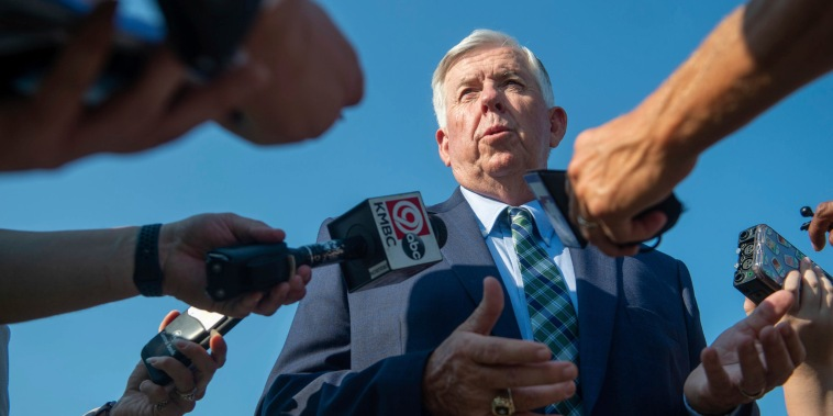 Missouri Gov. Mike Parson talks to reporters on July 13, 2021, in Kansas City.