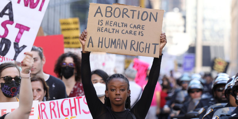 Image:  Pro-choice protesters during the Women's March in New York City on Oct. 2, 2021.
