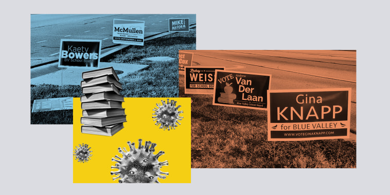 Image: This year's school board race is heating up in Johnson County, Kansas' most populated county — and across the country.