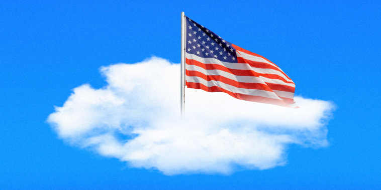 Illustration of an American flag planted onto a cloud in the sky.