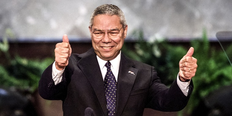 Colin Powell gives the thumbs up during his speech to the evening session of the 2000 Republican National Convention in  Philadelphia's First Union Center on July 31, 2000.