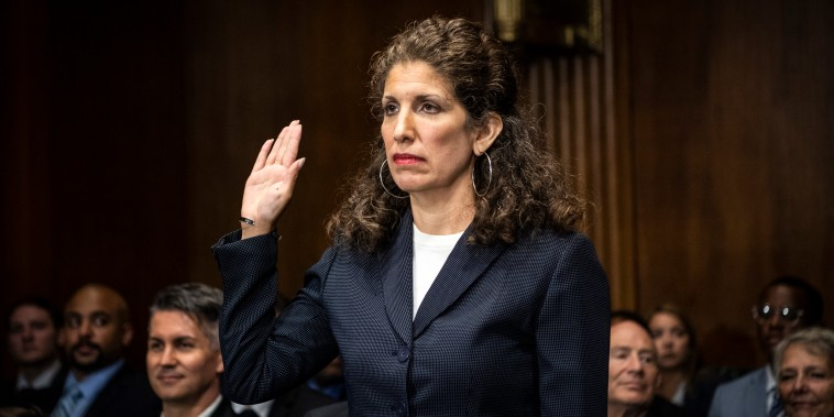 Myrna Perez swears in before testifying before the Senate Judiciary Committee during her nomination hearing to be U.S. circuit judge for the Second Circuit on July 14, 2021.