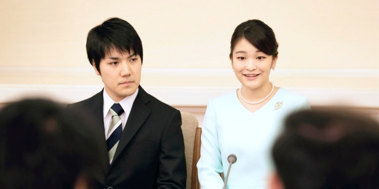 Princess Mako and her boyfriend Kei Komuro during a press conference in Tokyo on Sept. 3, 2017.