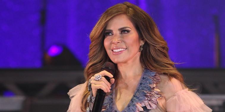 Gloria Trevi en 2019 durante una conferencia de prensa en México