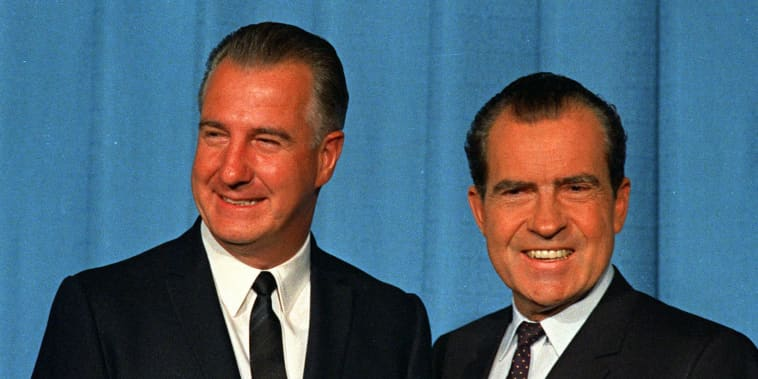 Sipro T. Agnew is shown with then President-Elect Richard M. Nixon in this 1968 file photo.