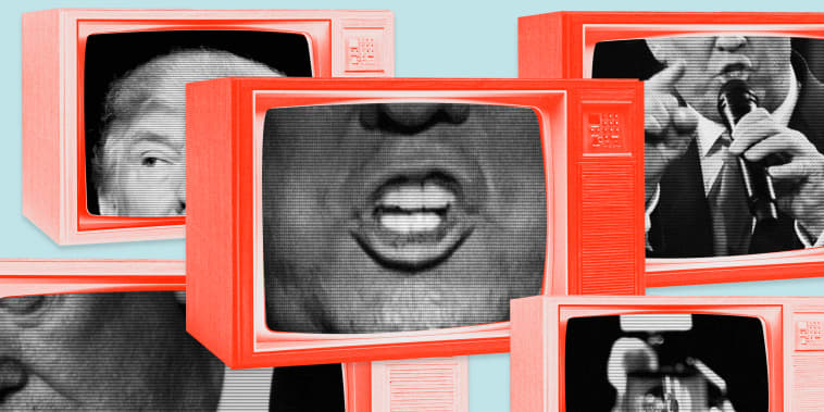 Image: Vintage orange televisions show close up of President Donald Trump's eyes, mouth and face.