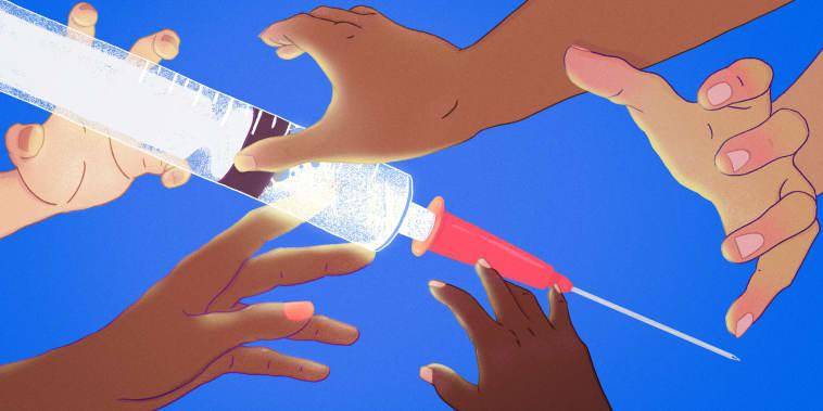 Illustration of hands of diverse skin tones grabbing a large vaccine syringe.