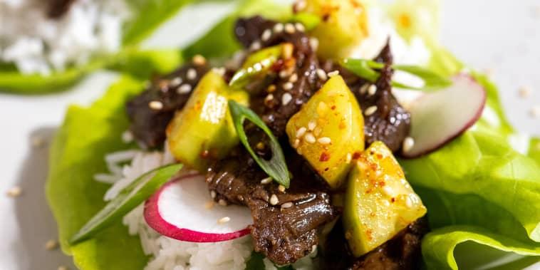 Mom's Bulgogi with Cucumber Kimchi Salad