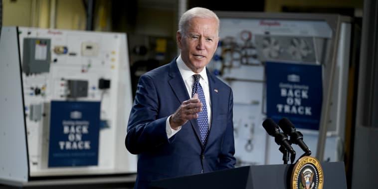Image: President Joe Biden speaks at Tidewater Community College on May 3, 2021, in Portsmouth, Va.