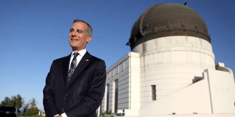 Image: Los Angeles Mayor Eric Garcetti smiles after holding his annual State of the City address from the Griffith Observatory in Los Angeles