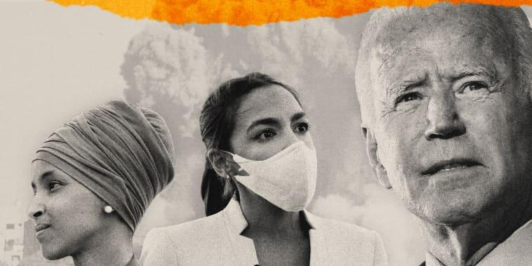 Illustration shows smoke rising from rubble in Gaza City with Representatives Ilhan Omar and Alexandria Ocasio-Cortez next to President Joe Biden.