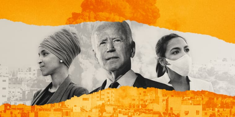Illustration shows smoke rising from rubble in Gaza City with Representatives Ilhan Omar and Alexandria Ocasio-Cortez next to President Joe Biden.