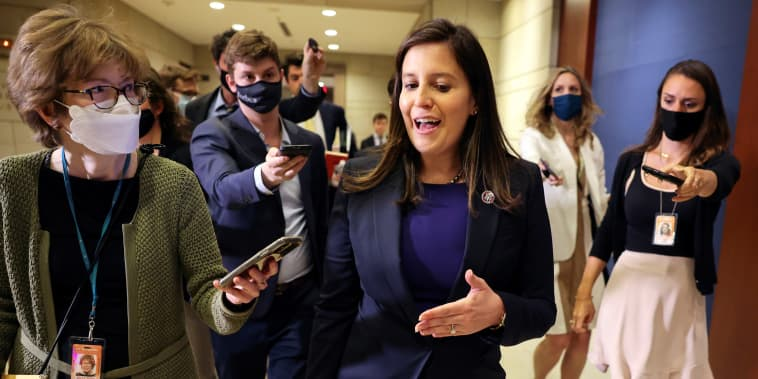 Image: Representative Elise Stefanik (R-NY) speaks to members of the media as she leaves a House Republican Caucus candidates forum for the running of GOP conference chair