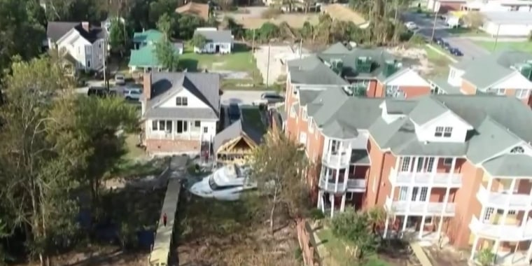 New Bern, NC residents hit with boat landing in their backyard after Hurricane Florence