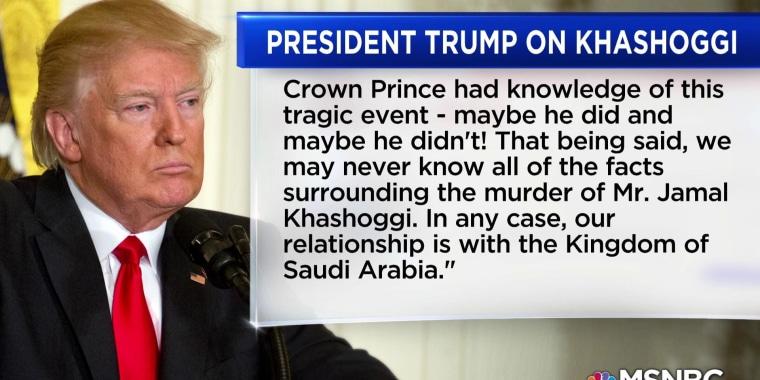 Trump issues statement backing Saudi ruler after Khashoggi killing