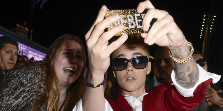 Justin Bieber takes a selfie