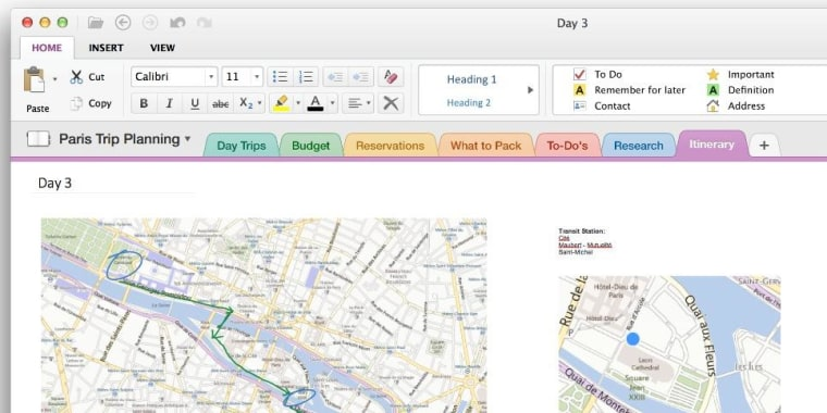 OneNote on OS X.