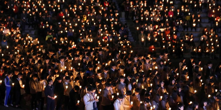 Image result for sewol ferry candlelight vigil