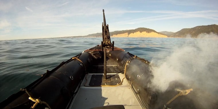 In tests off the California coast, the Lockheed Martin ADAM laser system burns through the hull of a military-grade boat.