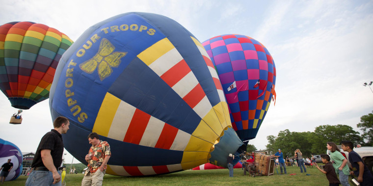 Image: Hot air balloons are seen at the Meadow Event Park in Caroline County, Va.