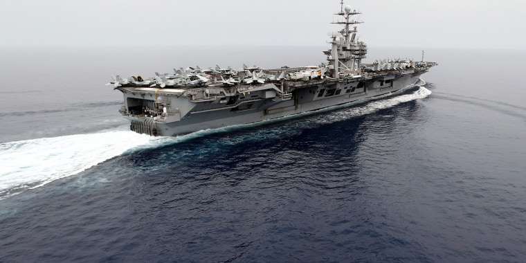 Image: The nuclear-powered U.S. aircraft carrier USS Harry S. Truman at an undisclosed position in the Mediterranean Sea