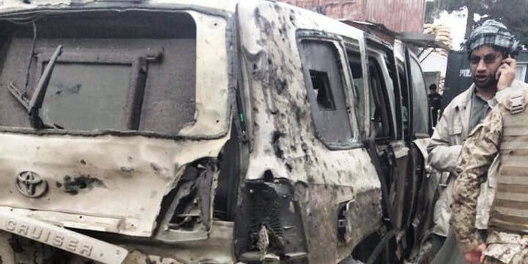 The vehicle that Abdullah Abdullah was travelling in when it was hit by a suicide attacker in Kabul on June 6, 2014.