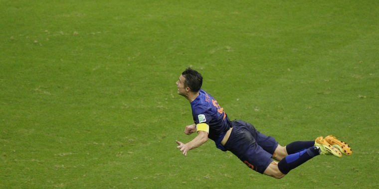 How many workers saw Robin van Persie's spectacular goal for the Netherlands against Spain on an office TV?