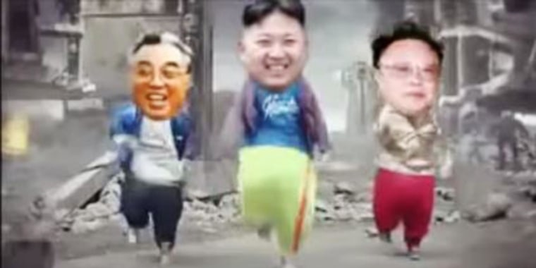 A fake Kim Jong Un dances with his late father Kim Jong-il and grandfather Kim il-Sung in a parody video