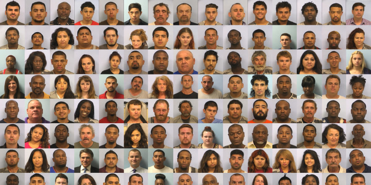 A composite of men and women who were booked for criminal offenses in Austin, Texas, on Aug. 19.