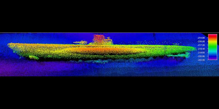 A sonar image of the wreck of U-576, which has been found just 30 miles off the North Carolina coast.