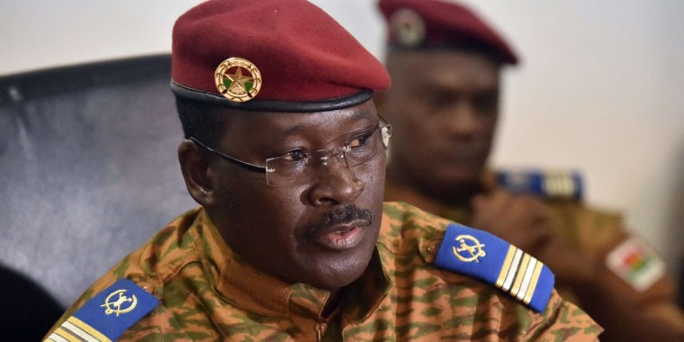 Image: Isaac Zida, named by Burkina Faso's army as interim leader, speaks during a press conference