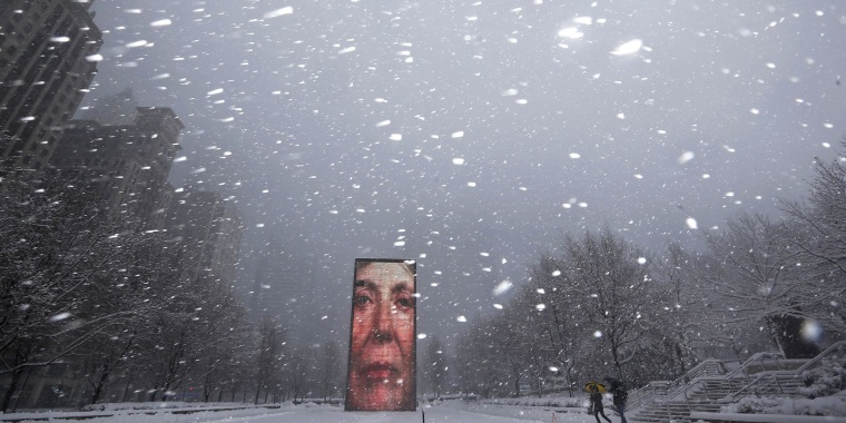 Two men walk past the Crown Fountain in blizzard conditions in Chicago, Illinois February 1, 2015.