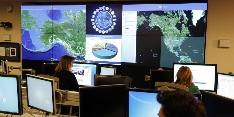 Image: Department of Homeland Security workers at the National Cybersecurity and Communications Integration Center in Arlington