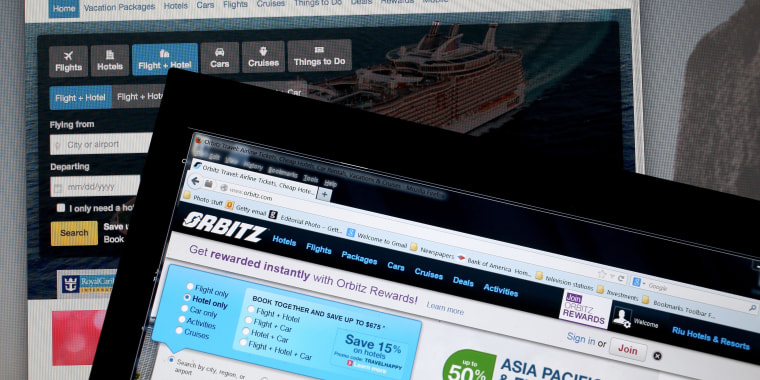 In this photo illustration, the website for Expedia Inc. and Orbitz Worldwide Inc. are seen next to each other.