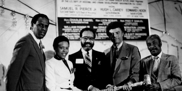 Archival photograph: groundbreaking for the Studio Museum's renovation at 144 West 125th St., c.1981.