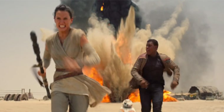 """A screen grab from the trailer for the seventh installment of """"Star Wars: The Force Awakens"""""""