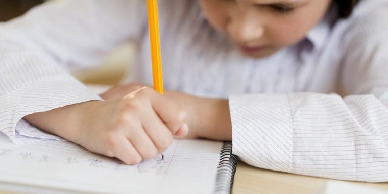 USA, New Jersey, Jersey City, Girl (8-9) doing homework