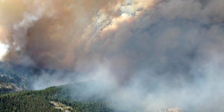Image: Smoke rises from the TePee Springs fire in the Payette National Forest near Riggins, Idaho