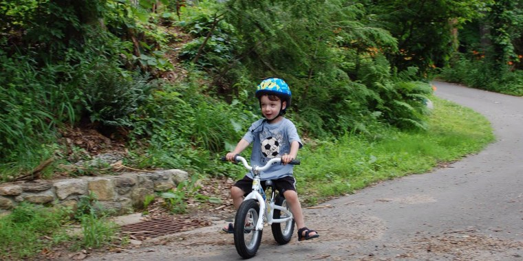 Photo: Max Kaufman, then 2-years-old, enjoys a spin on his balance bike in New York.