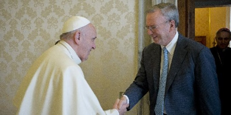 Image: Alphabet Chairman Eric Schmidt shakes hands with Pope Francis