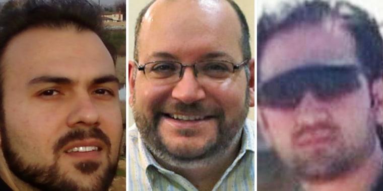 From left, Saeed Abedini, Jason Rezaian and Hekmati