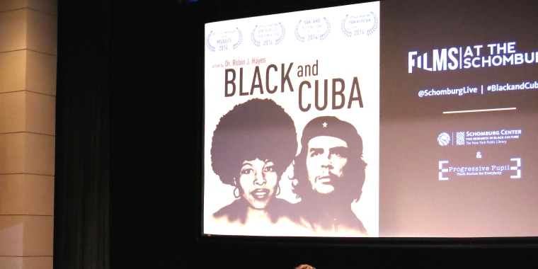 """""""Black and Cuba"""" director Dr. Robin J Hayes takes audience questions after the film's screening at the Schomburg Center For Research in Black Culture in Harlem, New York.(Photo By Melissa Noel)"""