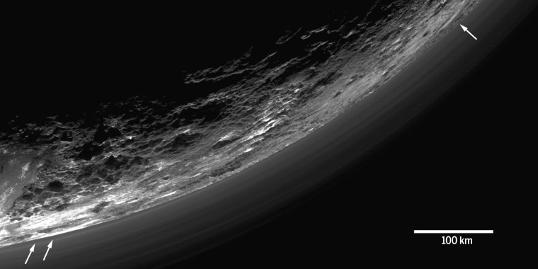 "Image from ""The atmosphere of Pluto as observed by New Horizons,"" by G.R. Gladstone et al."
