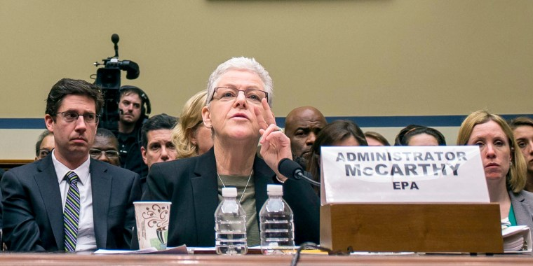 Image: Michigan Gov. Rick Snyder and Gina McCarthy, administrator of the Environmental Protection Agency, while testifying before the House Oversight and Government Reform Committee regarding the Flint, Mich., water contamination crisis, on Capitol Hill.