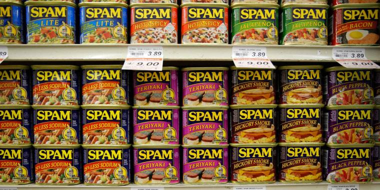 Image: Spam on supermarket shelves
