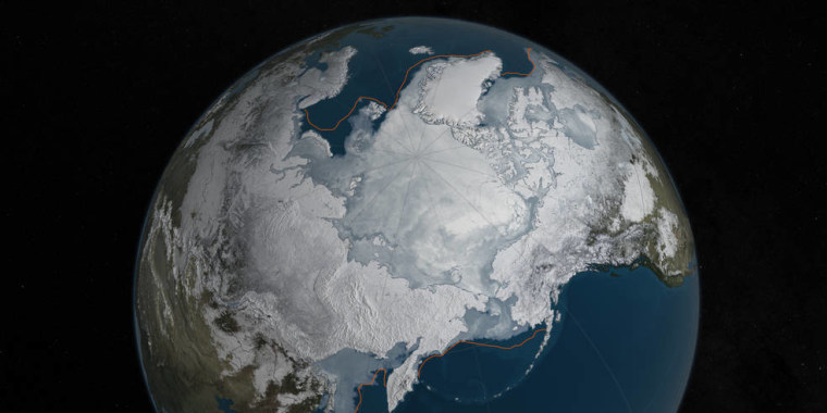 Arctic sea ice was at a record low wintertime maximum extent for the second straight year.