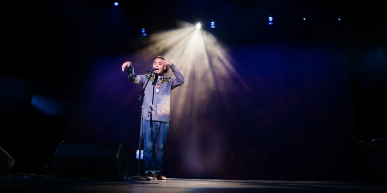 """George """"G"""" Yamazawa, a spoken word poet and rapper, performing at Kollaboration Seattle."""