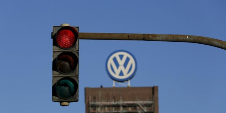 File photo of a traffic light showing red next to the Volkswagen factory in Wolfsburg